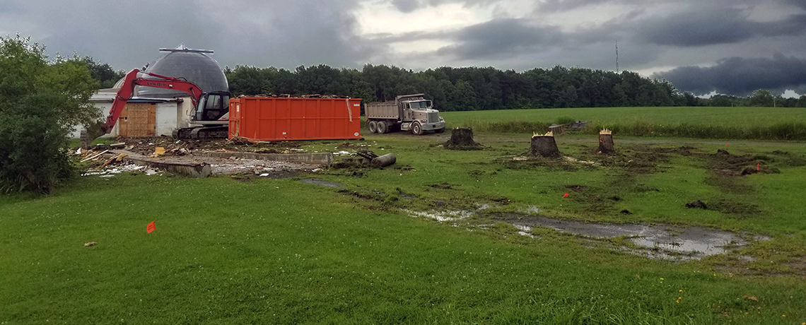 Construction & destruction underway on August 1, 2018