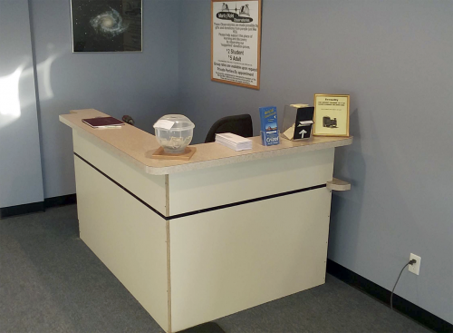 repurposed desk is perfect for Welcome Center